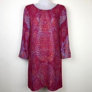 BillaBong Maroon Red Blue Orange Print Tunic Top